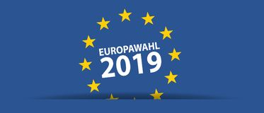 European Election 2019 - German Words - Vector Illustration. Isolated On Blue Background Royalty Free Stock Image