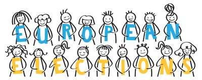 European Elections, stick people holding blue and yellow letters, banner stock photos