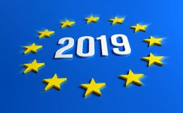 European elections 2019. Year 2019 date number inside yellow stars of Europe Flag. European elections. 3D illustration vector illustration