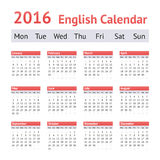 2016 European English Calendar. Week starts on Monday. 2016 English Calendar With European Style. Week starts on Monday Royalty Free Stock Photos