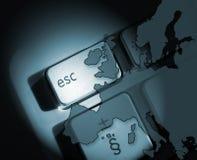 European escape. Outline of Europe overlaid onto laptop keys