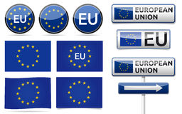 European EU flag collection. European union flag, traffic board, banner and symbols collection with shadow on white background. EU set Stock Photo