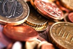 European Euro Coins. In Macro Photography. European Currency. Business Collection stock photos
