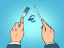 European Euro knife and fork financial concept Stock Image