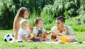 European familywith kids having picnic. At countryside Royalty Free Stock Photos