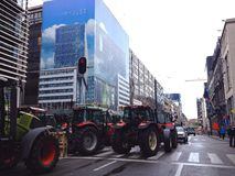 European farmers protest in Brussels Royalty Free Stock Photo