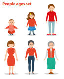 European female in different age categories. Baby, child, teenager, young, adult, old. European female in different age categories. Woman generations at Stock Images