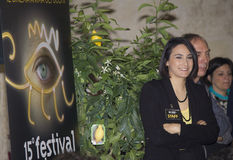European film festival lecce,logo and hostess Stock Photos