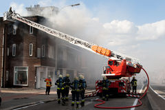 European firefighters on the scene 2. Firefighters on the scene ladder Stock Photography