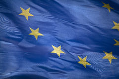 European flag. Waving in the wind Stock Photography