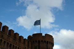 European flag. On the top of old fort tower stock photo