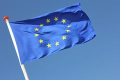 European flag. Blowing in the wind Royalty Free Stock Image