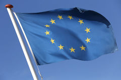 European flag. Blowing in the wind Royalty Free Stock Images