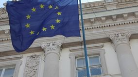 European Flag Building. European Flag at Building in Trieste Italy EU stock footage