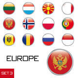 European flag buttons. Set of glossy rounded flag buttons of European countries, isolated on white background Royalty Free Stock Photography