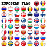 European Flag Buttons. Large set with flag buttons of countries in Europe Stock Photos
