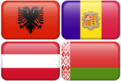 European Flag Buttons: Albania, Andorra, Austria,. Albanian, Andorran, Austrian, and Belarussian flag rectangular buttons.  Part of set of country flags all in 2 Royalty Free Stock Photography