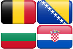 European Flag Buttons: Belgium, Bosnia, Bulgaria,. Belgian, Bosnian, Bulgarian and Croatian flag rectangular buttons.  Part of set of country flags all in 2:3 Stock Images