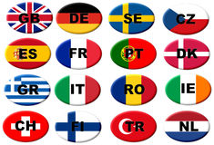 European flag buttons. With Country Codes in ISO 3166-1 alpha-2 code format Stock Photography