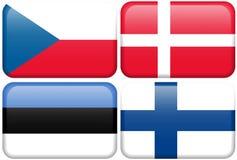 European Flag Buttons: CZ, DK, EST, SF Stock Images