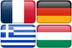 European Flag Buttons: F, D, GR, HUN. French, German, Greek, and Hungarian flag rectangular buttons.  Part of set of country flags all in 2:3 proportion with Stock Photography