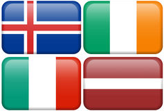 European Flag Buttons: ICE, IRE, I, LAT. Icelandic, Irish, Italian, and Latvian flag rectangular buttons.  Part of set of country flags all in 2:3 proportion Stock Photography