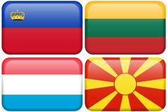 European Flag Buttons: LIC, LIT, NL, MAC. Lichtenstein, Lithuanian, Luxembourg, and Macedonian flag rectangular buttons.  Part of set of country flags all in 2:3 Royalty Free Stock Photos