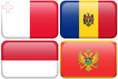 European Flag Buttons: MAL, MLD, MON, MONT. Maltese, Moldovan, Monaco, and Montenegran flag rectangular buttons.  Part of set of country flags all in 2:3 Stock Photos