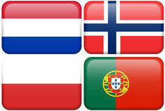 European Flag Buttons: NL, N, POL, P. Dutch, Norwegian, Polish, and Portuguese flag rectangular buttons.  Part of set of country flags all in 2:3 proportion with Stock Image