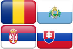 European Flag Buttons: RO, SM, SER, SVK. Romanian, Sammarinese, Serbian, and Slovak flag rectangular buttons.  Part of set of country flags all in 2:3 proportion Stock Photos