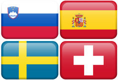 European Flag Buttons: SLOV, ES, S, CH. Slovenian, Spanish, Swedish, and Swiss flag rectangular buttons.  Part of set of country flags all in 2:3 proportion with Stock Photography