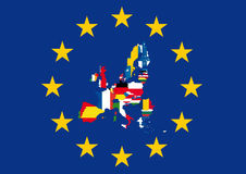 European flag with country flags. European union flag with the flags of their member countries Royalty Free Stock Photos