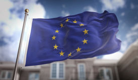 European Flag 3D Rendering on Blue Sky Building Background Royalty Free Stock Photos