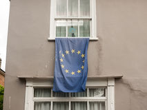 A european flag draped outside of a window. Essex; UK Stock Photos