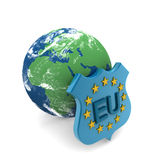 European flag and earth Royalty Free Stock Photos