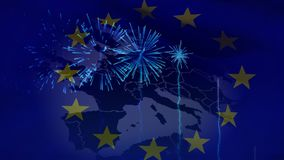 European flag with European map on it. Digital composite of European flag with the map of Europe depicted on it and fireworks going off stock footage