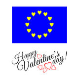 European flag of love  on white background with hearts. Royalty Free Stock Photos