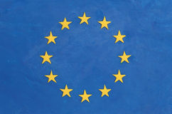 European flag. Made of plasticine (Child's Play Clay). Close-up Stock Image