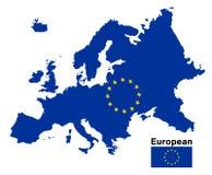 European flag map on a white background. An european flag map on a white background Stock Photo