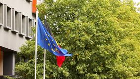 The european flag and the national german flag of germany with trees and building in the background, dutch and european. The european flag and the national stock footage