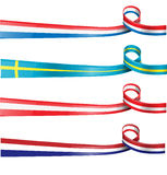 European flag ribbon flag set. Ioslated Stock Photography