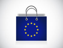European flag shopping bag illustration design Stock Image