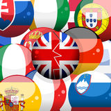 European flag spheres and broken Britains one Stock Images