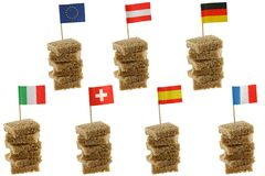 European flag toothpicks on Wholemeal bread. Different European flag toothpicks on Wholemeal, wholewheat brown bread Stock Images