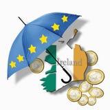 European flag umbrella on ireland flag against euro coins stock illustration