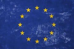 European Flag. European Union - Flag on Old Grunge Texture Background stock photography