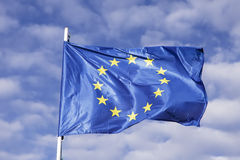 European flag waving in the wind. Horizontal Royalty Free Stock Images