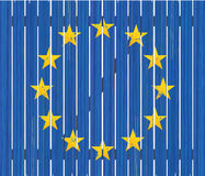 European flag on wooden fence Royalty Free Stock Photography