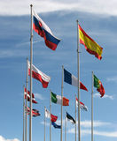 European flags. Fluttering in blue sky royalty free stock photography