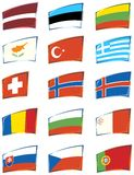 European Flags. A serie of European flags on withe background Royalty Free Stock Photo